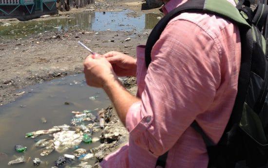Joe-Taking-air-samples-in-Haiti